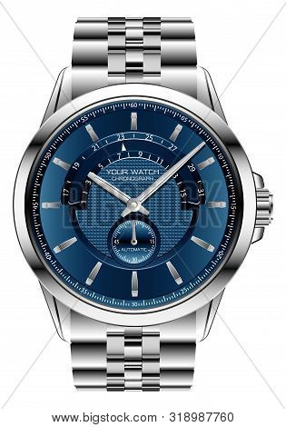 Realistic Clock Watch Chronograph Blue  Silver Steel Luxury For Men On White Background Vector Illus