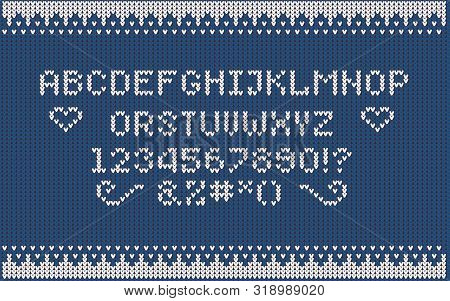 Christmas Knitted Font. Nordic Fair Isle Knitting Sweater Design. Knitted Latin Alphabet.