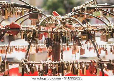 Love Metal Locks Place. Couple Goals Concept. Love For Life
