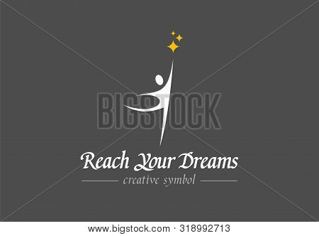 Reach Your Dreams Creative Symbol Concept. Success, Goal, Graduate Abstract Business Logo Idea. Happ