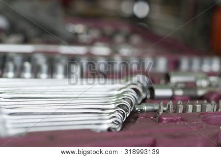 Wrenches Closeup Lying In The Toolbox For Service Compared To Other Tools