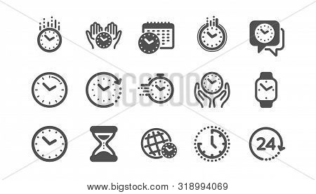 Time And Clock Icons. Timer, Alarm And Smartwatch. Time Management, 24 Hour Clock, Deadline Alarm Ic