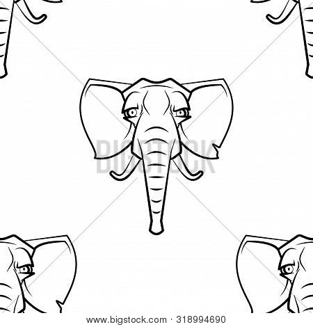 Funny Cartoon Elefant Character. Seamless Pattern. Design Template For Wallpapers, Wrapping, Textile