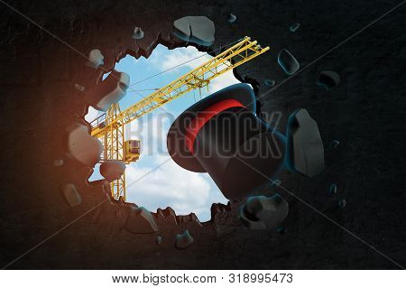 3d Rendering Of Hoisting Crane Carrying Tophat With Red Ribbon Which Is Breaking Through Black Wall