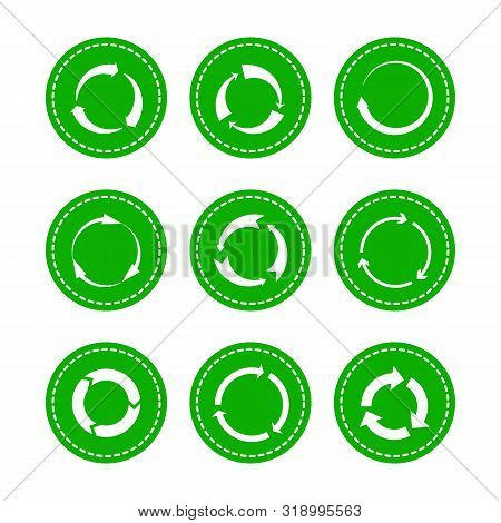 Green Recycling Round Arrows. Vector Circle Arrow Icons, Rounded Recycle Symbols, Lifecycle Recyclab