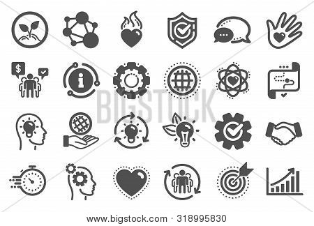 Core Values Icons. Integrity, Target Purpose And Strategy. Trust Handshake, Social Responsibility, C