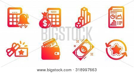 Loyalty Gift, 3d Chart And Report Document Line Icons Set. Debit Card, Finance Calculator And Calcul