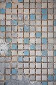 Old ceramic tile on a bathroom floor poster