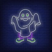 Person wearing white sheet and pretending to be ghost neon sign. Halloween party, fear design. Night bright neon sign, colorful billboard, light banner. Vector illustration in neon style. poster