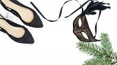 Female stylish accessories outfit luxury back lacy shoes and black and gold venetian mask, fir tree on white snow background, isolated. Christmas New Year carnaval Party layout. Venice Carnival mask. poster