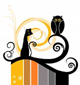 Beautiful Floral Design Element with Cat Silhouette poster