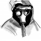 the man in a gas mask poster