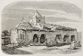 Sidi-Ben-Hassen mosque, Kabylie, Algeria. Created by Girardet, published on L'Illustration, Journal Universel, Paris, 1863 poster