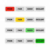 Indicator credit score, colored light up rating level. Vector credit scale in bank app, ui with gleam score level, indicate afford get mortgage or loan illustration poster