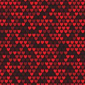 Seamless pattern with rows of red hearts on black background. Repetitive background with red heart. Vector illustration for your graphic design. poster