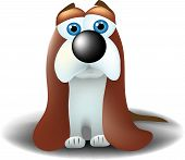 A basset hound looking either sad or lonely with his long ears drooping all the way to the ground poster