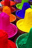 Colorful tika powders in a market of India , Asia poster