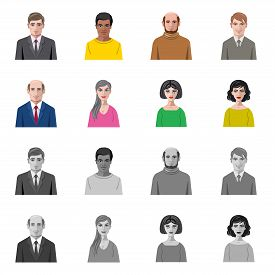 Isolated Object Of Hairstyle And Profession Symbol. Collection Of Hairstyle And Character Stock Vect