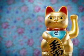 Japanese Lucky Cat, Maneki Neko, Figurine Golden Cat Brings Good Luck, Japan, China, Asia, Culture,