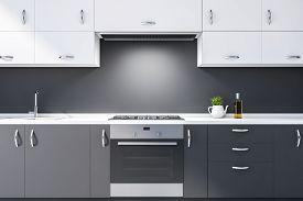Close Up Of Dark Gray Kitchen Countertops