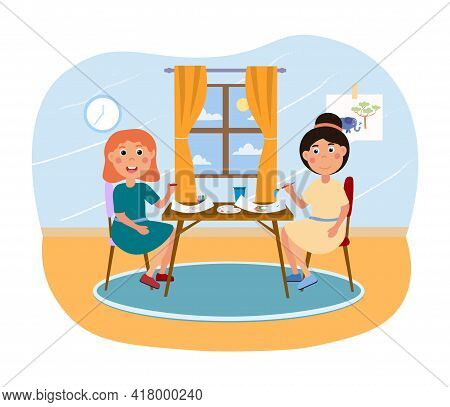 Two Cute Little Girls Are Sitting At Table And Drawing Together Indoors. Smiling Children Staying In