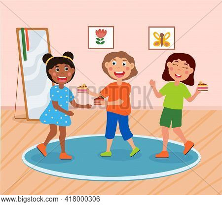 Group Of Happy Kids Is Eating Tasty Cake Together. Smiling Cute Little Children Are Enjoing Time Spe