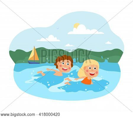 Two Happy Little Kids Are Swimming In The Sea. Two Children Enjoing Vacation Swimming Together On A
