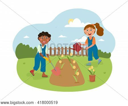 Cute Little Kids Working In The Garden Together. Girl With Watering Can, Boy With Shovel. Concept Of