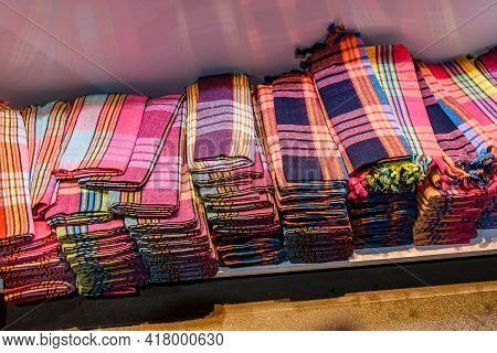 Different Scarves And Shawls For Sale At Turkish Bazaar