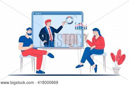 Online Video Training Or Virtual Conference With People Characters, Cartoon Vector Illustration Isol