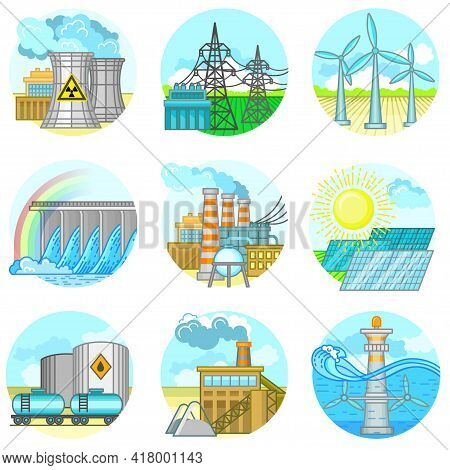 Nuclear Power Plant And Factory. Nuclear Energy Industrial Concept. Vector Illustration In Flat Styl