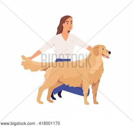 Person Presenting Golden Retriever. Young Woman Showing Her Dog. Doggy Standing With Tongue Hanging