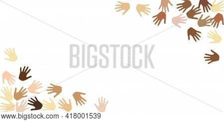Hands Border Corners, Palms Frame Isolated On White Vector Background Design. Skin Color Diversity C