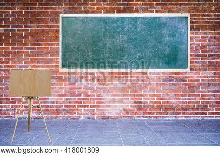 Empty Blackboard And Blank Wooden Board Easel Installed On Brick Wall Retro Style On Sidewalk Of Ext