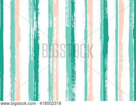 Ink Hand Drawn Parallel Lines Vector Seamless Pattern. Minimal Linen Fabric Print Design. Grainy Tex