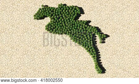Concept or conceptual group of green forest tree on dry ground background, sign of a horse rider. 3d illustration metaphor for sport, competition,  training, relaxation,  hobby and fun