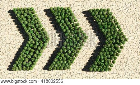Concept or conceptual group of green forest tree on dry ground background, dangerous turn road sign. 3d illustration metaphor for caution, warning, safety and guidance