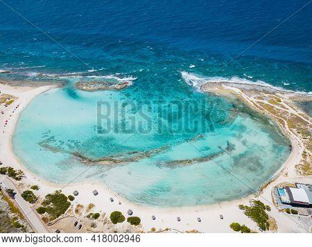 Amazing Baby Beach And Coast On Aruba, Caribbean, White Beach With Blue Ocean Tropical Beach.