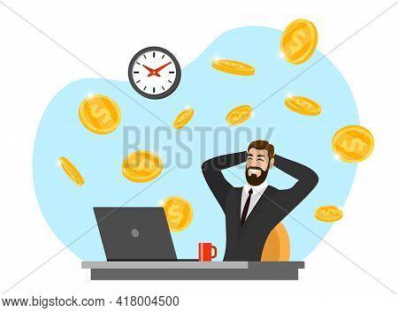 Happy Businessman With Laptop Get Money . Online Income Commerce Business Man. Joyful Person Makes P