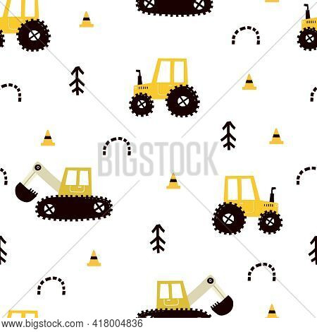 Seamless Pattern With Cartoon Tractor,  Bulldozer, Decor Elements. Colorful Vector Flat Style For Ki