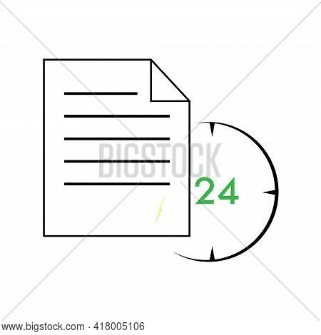 Documents Vector Icon, Timely Document Exchange Flat Icon. Office Papers, Reports, Time To Send A Do