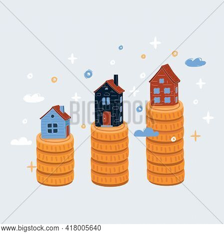 Vector Illustration Of Real Estate Concept Price Variation On Real Estate Market. Mortgage Loan On W