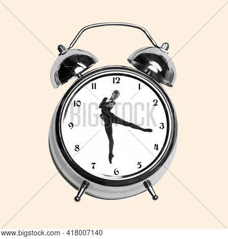 Contemporary Art Collage, Modern Design. Retro Style. Tender Ballerina Dancing In Old-fashioned Cloc
