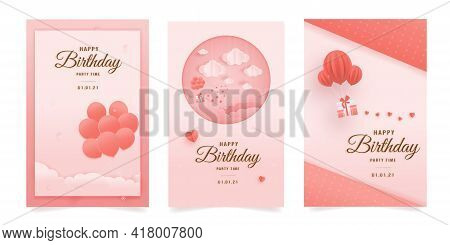 Set Banner Decorated Birthday Card Beautiful Three Gift Box, Balloon In The Could Paper Style, Paper