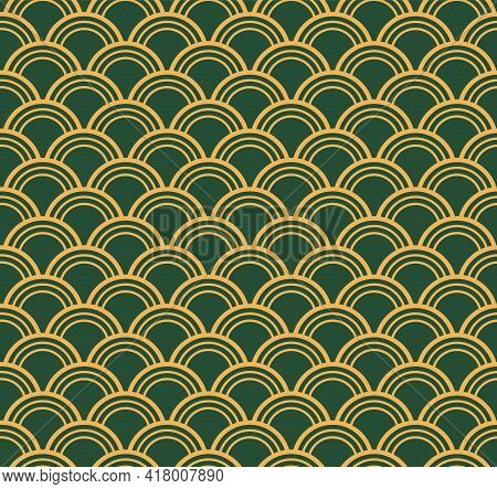 Traditional Oriental Ocean Waves Abstract Geometric Seamless Pattern, Gold On Green Background. East