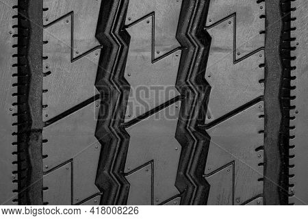 Close-up Industrial Tire Of Tractor Car With Detail And Pattern Background