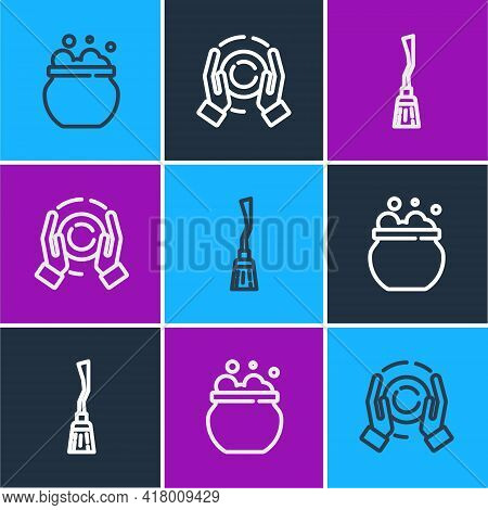Set Line Witch Cauldron, Witches Broom And Magic Ball Hand Icon. Vector