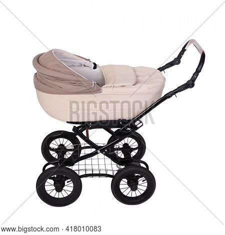 Baby carriage, stroller on wheels isolated on white background