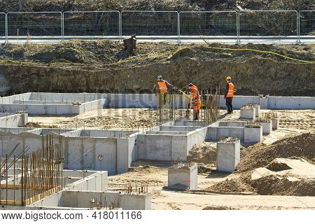 Heavy Machinery At A Construction Site. Growth Of The Real Estate Market. Construction Of The Founda