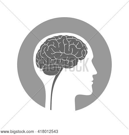 Silhouette Human With Brain. Profile Man With Brain Sign In The Circle Isolated On White Background.
